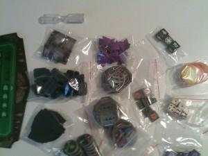 Alcuni dei vari componenti di gioco